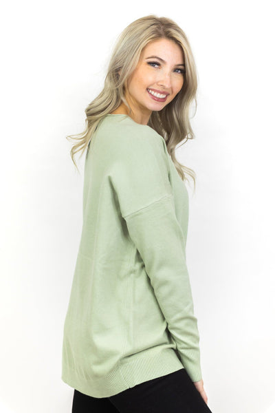 Lovely Haven V-Neck Sweater in Light Sage - Filly Flair