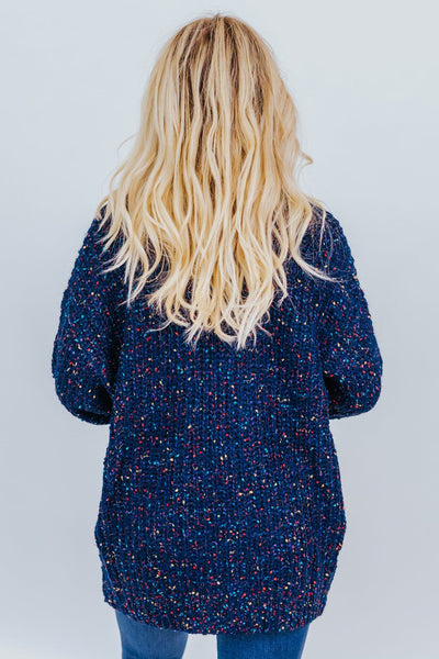 Falling Fast For You Open Front Long Sleeve Cardigan in Navy - Filly Flair
