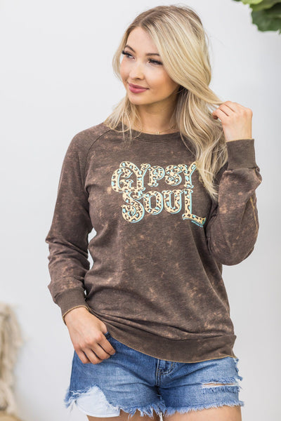 Gypsy Soul Long Sleeve Tee in Brown Mineral Wash - Filly Flair