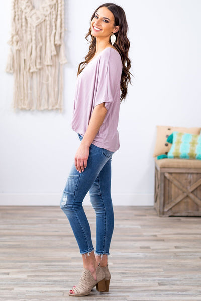 True Love Short Sleeve Criss Cross Back Rolled Front Hem Top in Mauve - Filly Flair