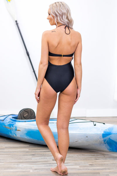 SWIM: In the Harbor Cage Detail One Piece Suit in Black - Filly Flair