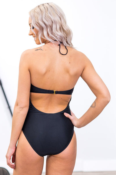 #ST2# SWIM: In the Harbor Cage Detail One Piece Suit in Black - Filly Flair