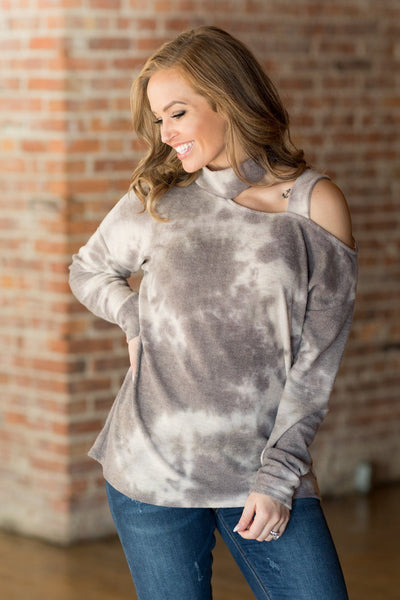 Rock It Tie Dye Cold Shoulder Top in Charcoal - Filly Flair