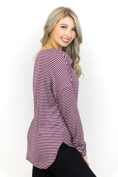 It Is Now Or Never Striped Top In Burgundy - Filly Flair