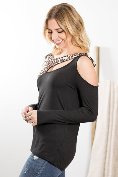 The One For Me Animal Print Detail Long Sleeve Top in Black - Filly Flair