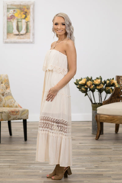 Take Me Home Off the Shoulder Lace Trim Maxi Dress in Ivory - Filly Flair