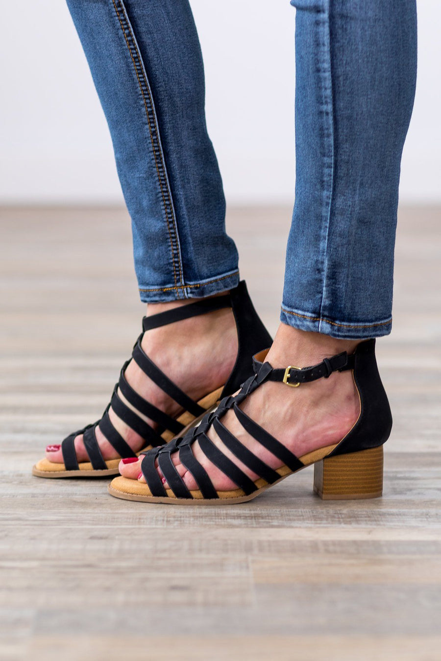 70fd3e5d4 Beyond This World Open Toe Strappy Sandal Heels in Black