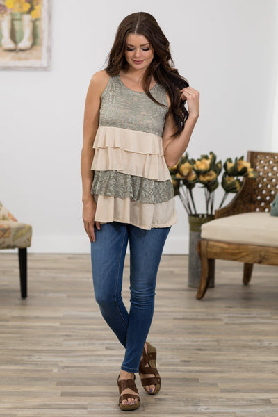Since You've Been Gone Lace Ruffle Tank Top in Taupe Sage - Filly Flair