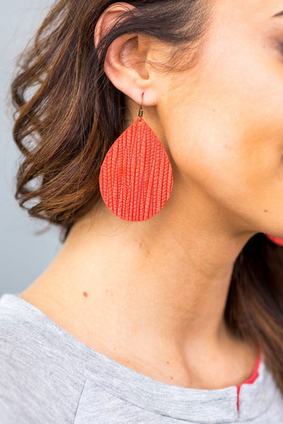 Textured Coral Leather Teardrop Earrings - Filly Flair