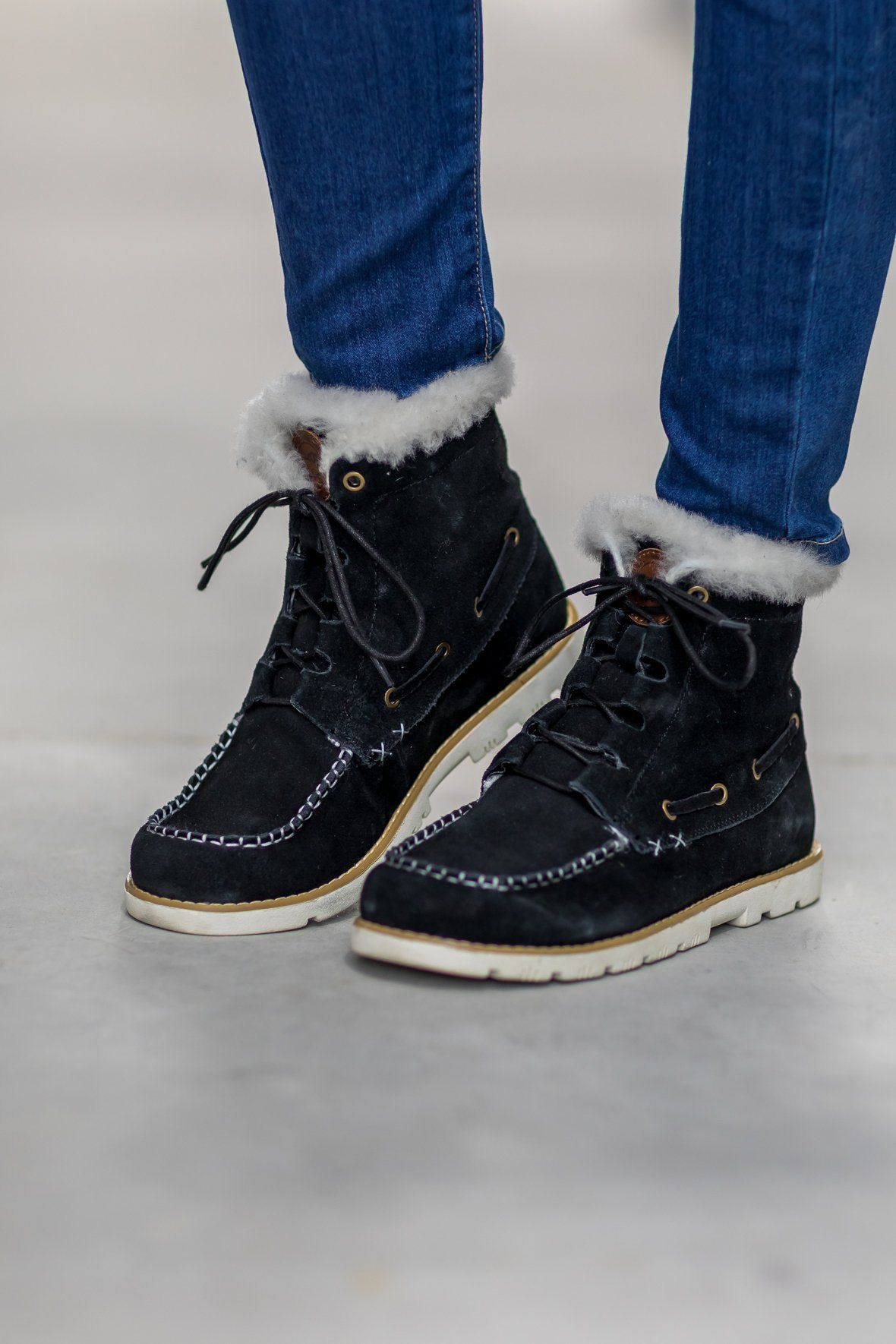 37ecaefa534 Lamo: Suede and Sheepskin Boots in Black - Filly Flair