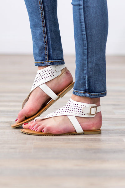 How Far We Can Go Triangle Laser Cut Sandals in White - Filly Flair