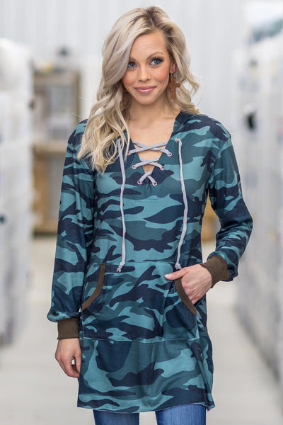 Simple As That Camo Tie Front Tunic Hoodie in Green Teal Brown - Filly Flair