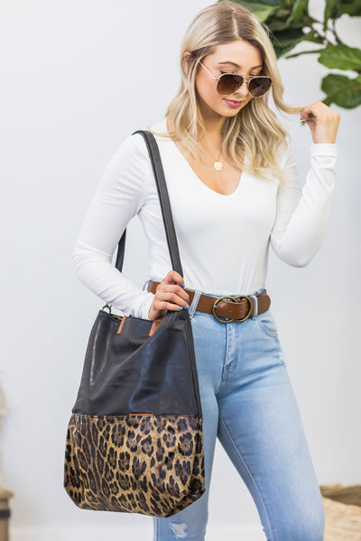 Falling For Me Leather Tote In Black With Leopard Print - Filly Flair