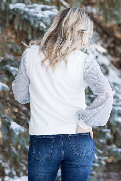 Written In The Stars Sequin Long Sleeve Top in White - Filly Flair