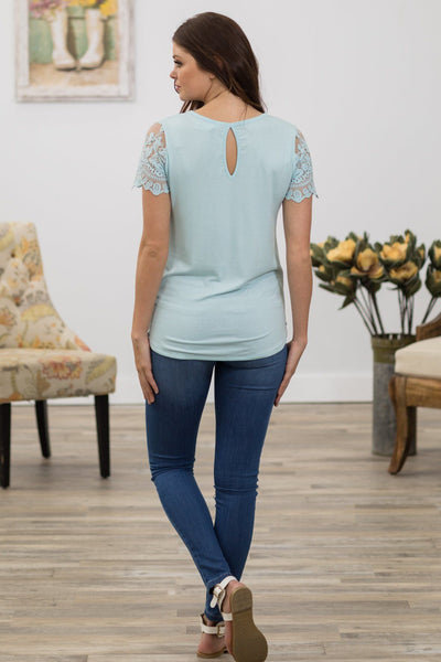 Famous Day Short Lace Sleeve Top in Light Blue - Filly Flair