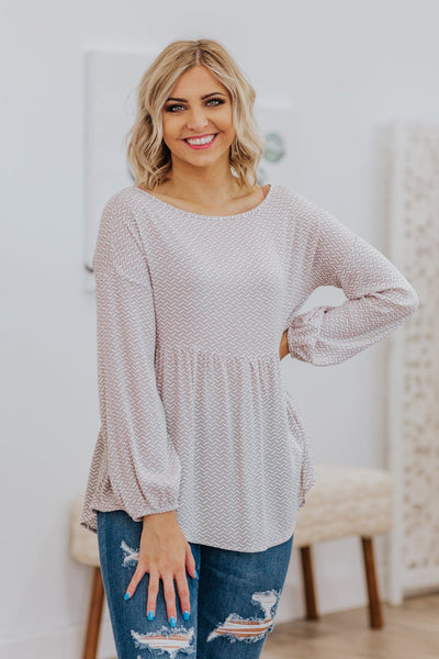 Wanna Be Long Sleeve Printed Top in Beige - Filly Flair