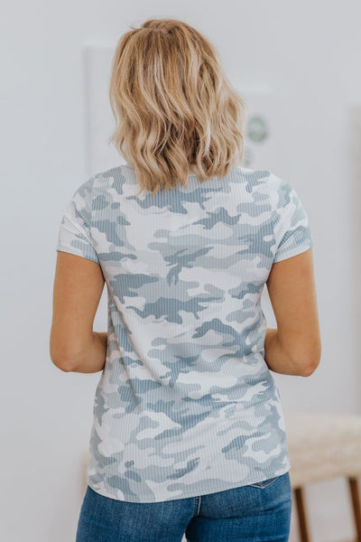 Could You Still Love Me Camo Print Front Pocket Short Sleeve Top in Light Blue - Filly Flair