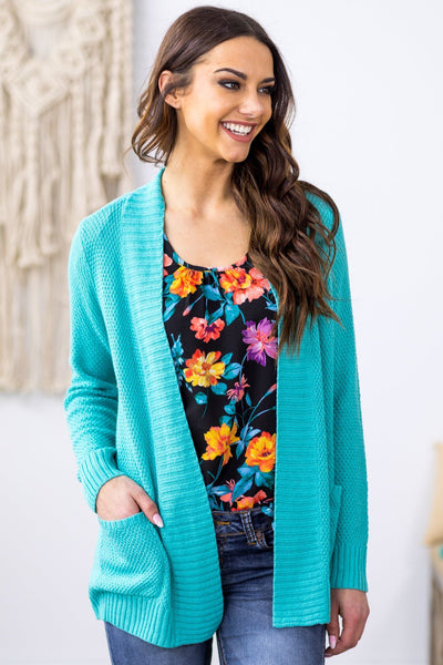 She's Gone Again Long Sleeve Open Pocket Knit Cardigan in Turquoise - Filly Flair