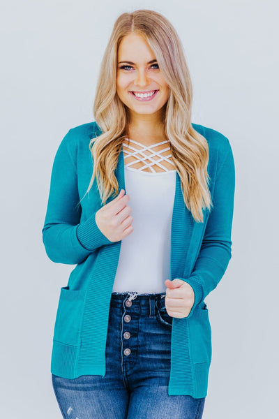 Wildest Dreams Open Short Cardigan With Pockets In Jade - Filly Flair