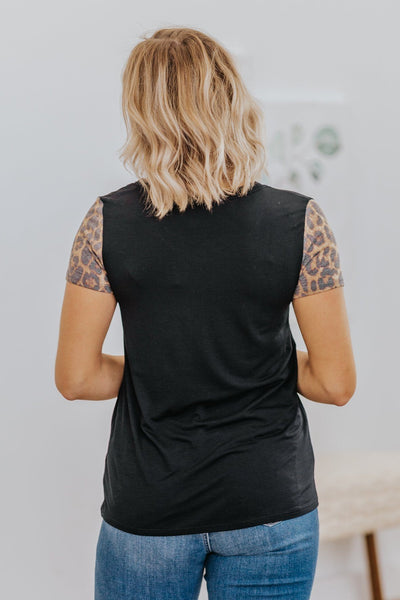Only You Animal Print Detail Short Sleeve Top in Black - Filly Flair