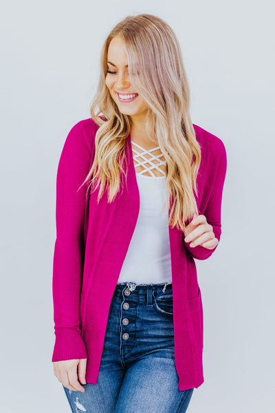 Wildest Dreams Open Short Cardigan With Pockets In Magenta - Filly Flair