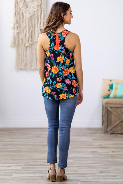 You've Been On My Mind Zip Back Floral Tank Top in Black - Filly Flair