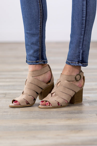 What You Wish For Open Toe Cut Out Heels in Taupe - Filly Flair