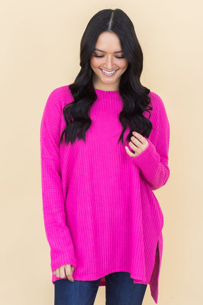 Bust a Move Waffle Knit Top in Hot Pink - Filly Flair