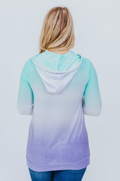 Straight From The Heart Ombre Hoodie in Blue/Lavender - Filly Flair