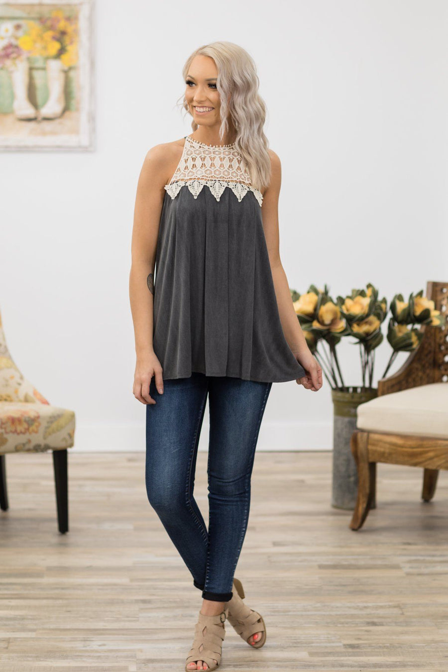 4bf12db5f3349f Beautiful Angel Crochet Detail Tank Top in Charcoal