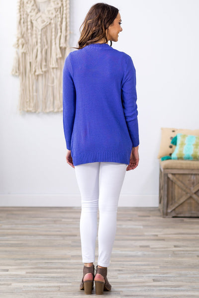 She's Gone Again Long Sleeve Open Pocket Knit Cardigan in Cobalt Blue - Filly Flair
