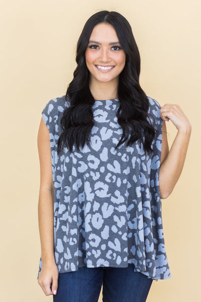 Love The Seasons Lightweight Sleeveless Poncho In Grey Animal Print - Filly Flair