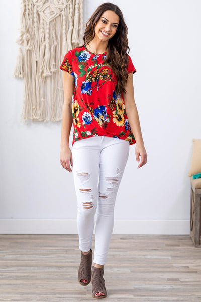 She's All I Need Short Sleeve Pleated Hem Floral Top in Red - Filly Flair