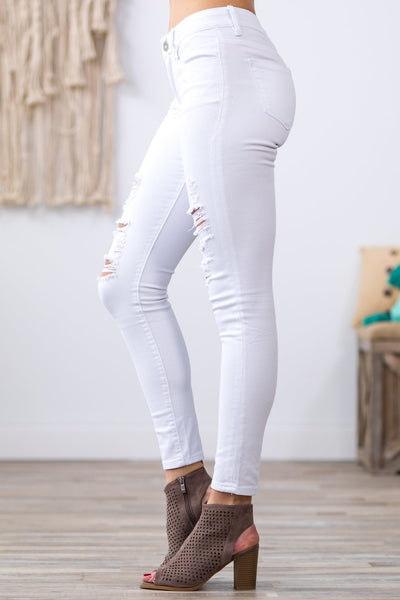 Kan Can Lexis-Eugene Distressed White Skinny Jeans - Filly Flair