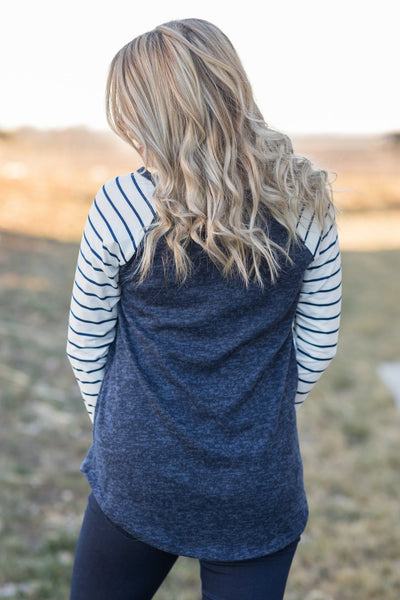 Dance In The Sunshine Baseball Style Long Sleeve With Stripes In Navy - Filly Flair