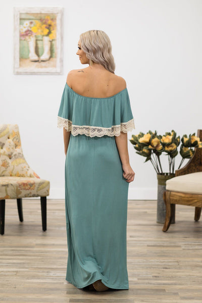 Way To Thank You Off Shoulder Maxi Dress in Dark Sage - Filly Flair