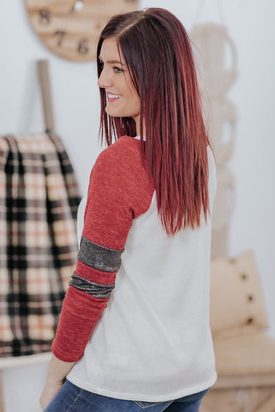 You Be You & I'll Be Me 3/4 Jersey Stripe Sleeve Top in Ruby Red - Filly Flair