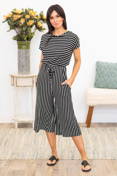 Caribbean Nights Striped Jumpsuit In Black - Filly Flair