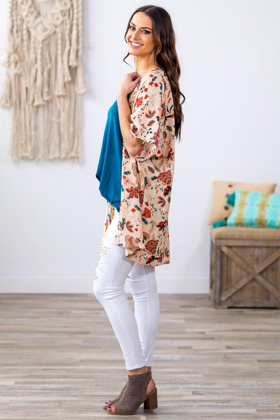 This is A Dream Short Sleeve Floral Dolman Kimono in Cream - Filly Flair