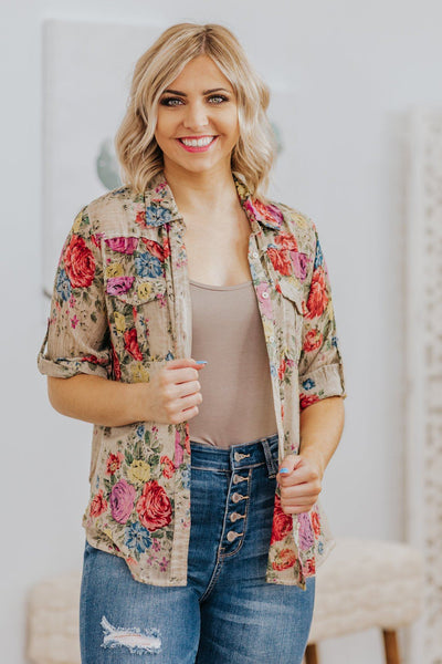 Pick Me Flowers Button Down Floral Top in Tan - Filly Flair