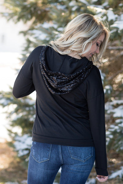 Always Shine Brighter Sequins Detail Long Sleeve Top in Black - Filly Flair
