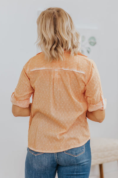 Sweet Summer Time Button Down Popcorn Detail Top in Coral - Filly Flair