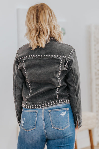 You're Perfect To Me Bedazzled Jean Jacket in Black - Filly Flair