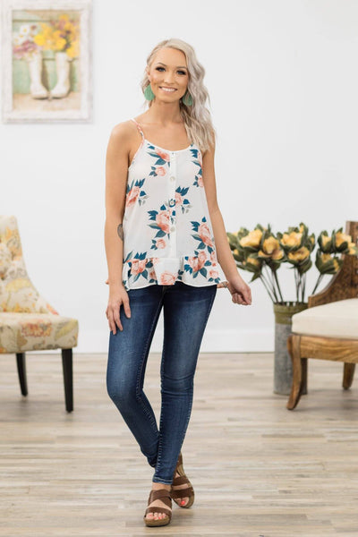 As I Am Floral Button Down Ruffle Hem Tank Top in White - Filly Flair
