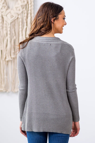 Easy Going Long Sleeve Ribbed Cardigan in Grey - Filly Flair