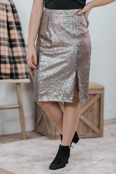 Night Lover Sequin Side Slit Pencil Skirt in Lunar Silver - Filly Flair