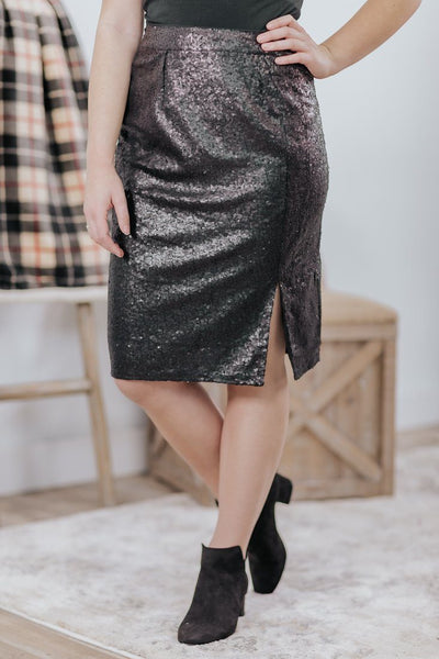 Night Lover Sequin Side Slit Pencil Skirt in Midnight Black - Filly Flair