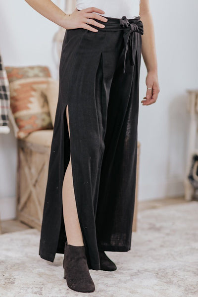Better Days Ahead Wide Leg Side Slit Tie Elastic Waist Pants in Black - Filly Flair