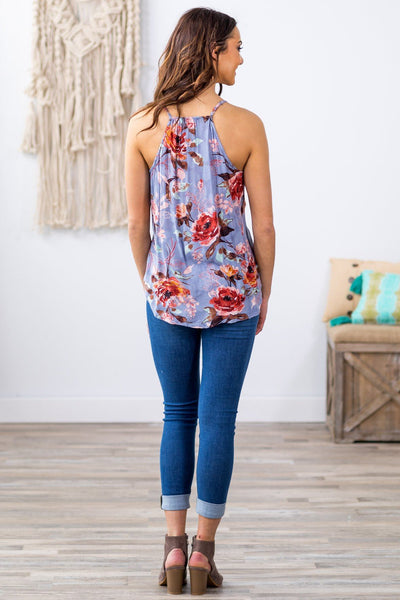 Renewing Hope Floral Tank Top in Periwinkle - Filly Flair