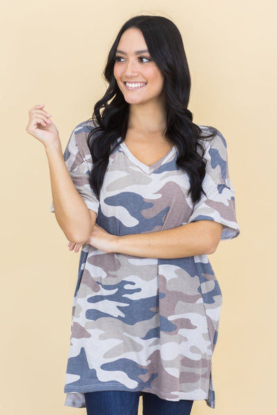 Up All Night Camo Print Top in Mocha - Filly Flair